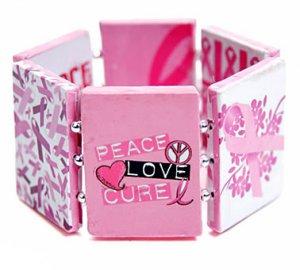 Breast Cancer Bracelet Pink Ribbon Silver Awareness Art