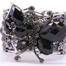 Butterfly Bracelet Cuff Bangle Crystal Black Beads Wing Insect Hematite