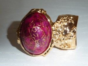 Arty Ring Hot Pink Drizzle Gold Chunky Armor Oval Art Knuckle Statement Cage Deco Cocktail Size 10