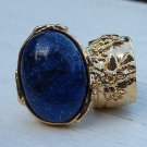 Arty Ring Blue Midnight Sky Gold Chunky Armor Oval Art Knuckle Statement Cage Deco Cocktail Size 6