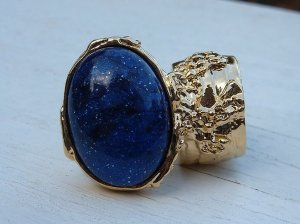 Arty Ring Blue Midnight Sky Gold Chunky Armor Oval Art Knuckle Statement Cage Deco Cocktail Size 10