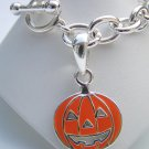 Pumpkin Charm Bracelet Toggle Silver Chain Thanksgiving Halloween