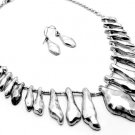 Irregular Shapes Necklace and Earrings Set Antique Silver Chain