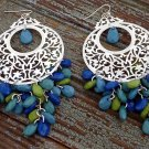 Filigree Style Large Hoop Earrings Silver Blue Green Dangle Beads