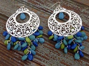Filigree Style Large Hoop Earrings Silver Blue Green Dangle Beads