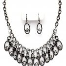 Rhinestones Necklace & Earrings Set Hematite Link Chain Statement