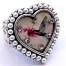 Heart Shape Hummingbird & Flower Ring Bird Antique Silver Faux Pearl Beads Stretch 7/8