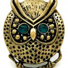 Owl Ring Bird Charm Antique Style Brass Green Beads Beaded Design Stretch 6/7