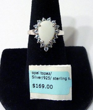 Opal and Topaz 925 Ring Sterling Silver Stamped Pear Shape Birthstone Womens Size 7