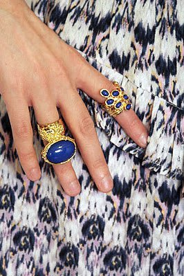 Arty Ring Royal Blue Gold Chunky Armor Oval Art Knuckle Statement Cage Deco Cocktail Size 10