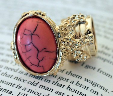 Arty Ring Pink Coral Gold Black Chunky Armor Oval Art Knuckle Statement Cage Deco Size 10