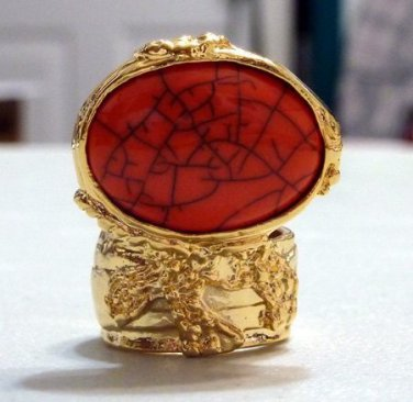 Arty Ring Coral Gold Black Chunky Armor Oval Knuckle Art Statement Cage Deco Cocktail Size 10