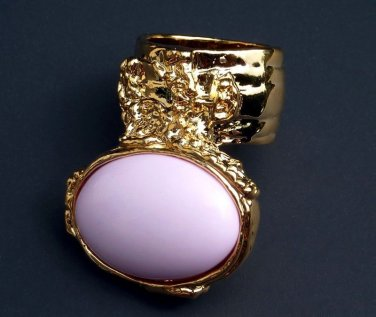 Arty Oval Pink Ring Gold Knuckle Art Armor Statement Cage Designer Two Finger Deco Style Size 10