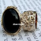 Arty Oval Black Ring Armor Gold Knuckle Cocktail Art Two Finger Statement Cage Deco Style Size 10
