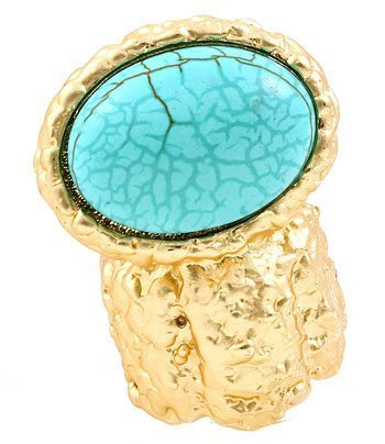 Arty Oval Ring Turquoise Howlite Stone Armor Matte Gold Knuckle Art Statement Stretch 7 - 8.5