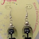 Hand Painted Glass Kitty Cat Earrings Feline Black White Paint Silver Dangle