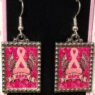 Breast Cancer Awareness Pink Ribbon Earrings Hope Heart Wing Wings Vintage Style Silver Dangle