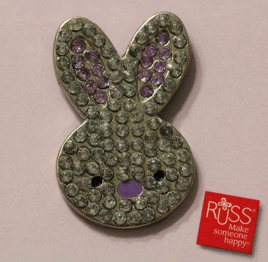 Russ Berrie Bunny Rabbit Pin Broach Spring Bling Silver Purple
