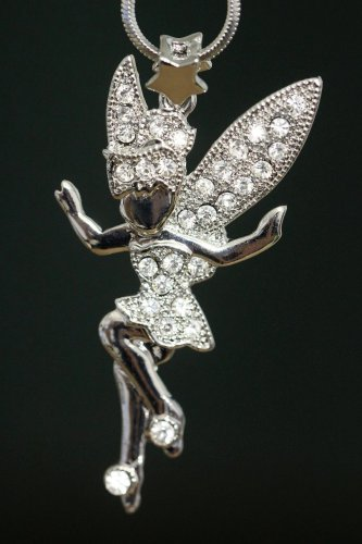Fairy Pendant Necklace Silver Snake Chain Star Sparkle Glistening Crystals Sparkly