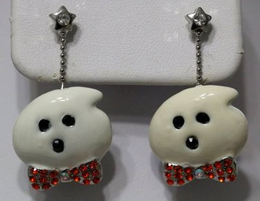 Ghost Earrings Orange Iridescent Crystals Star Bow Tie Off White Silver Halloween Dangle