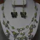 Butterfly Necklace and Earrings Set Beads Set Silver Charm