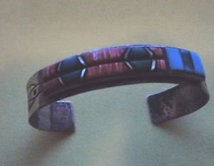 """STERLING BRACELET INLAY TURQUOISE & POSSIBLY CORAL """"TEME""""-SOUTHWEST 25 GRAMS"""