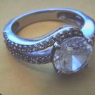 STERLING SILVER 925 RING WITH DIAMONDS SIZE AROUND 7.5