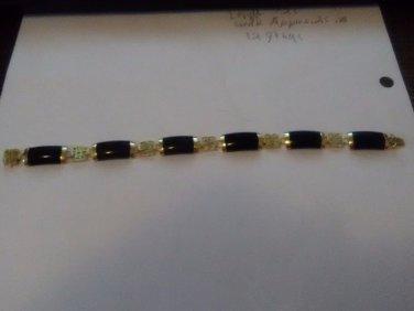 "Estate Vintage 14K Yellow Gold BLACK ONYX/BAKELITE  CHINESE BRACELET 7.25"" 12.0g"