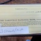 New Jersey NJ Yardville 33 unused mint checks Yardville National Bank