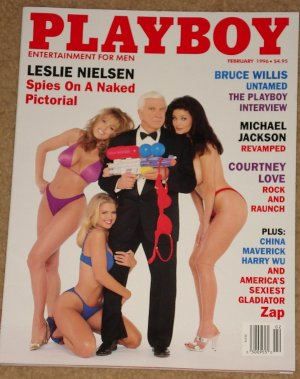 Playboy Magazine - February 1996 Leslie Nielsen, Courtney Love, Michael Jackson, Bruce Willis