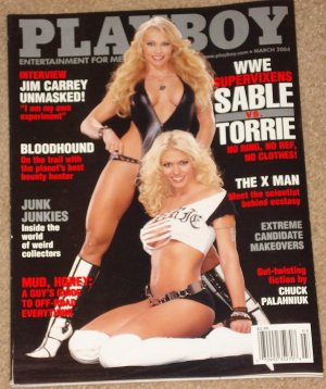 Playboy Magazine - March 2004 WWE Sable & Torrie, Jim Carrey, Ecstacy, junk collectors, W. Peterson