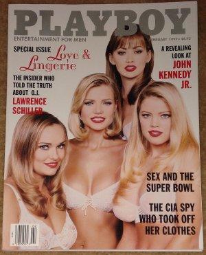Playboy Magazine - February 1997 (B) lingerie, John Kennedy Jr., Lawrence Schiller, Super Bowl sex