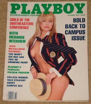 Playboy Magazine - October 1989 Keith Richards (Rolling Stones), Julie McCullough, Geena Davis,