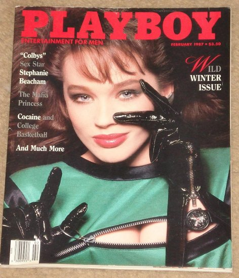Playboy Magazine - February 1987 Stephanie Beacham, Cocaine & College basketball, Mickey Rourke
