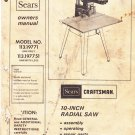 """sears owner manual 10"""" radial saw model no 113.19771 113.197751"""