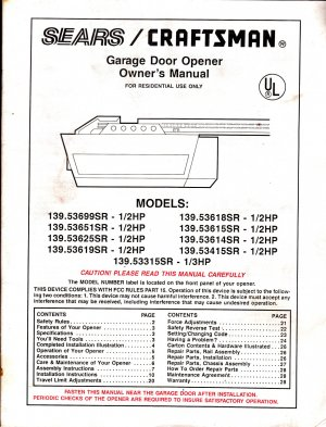 Sears Craftsman Garage Door Opener Owners Manual Models 139 53699sr Others
