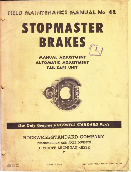 Stopmaster Brakes manual No 4R 1968 Rockwell Standard