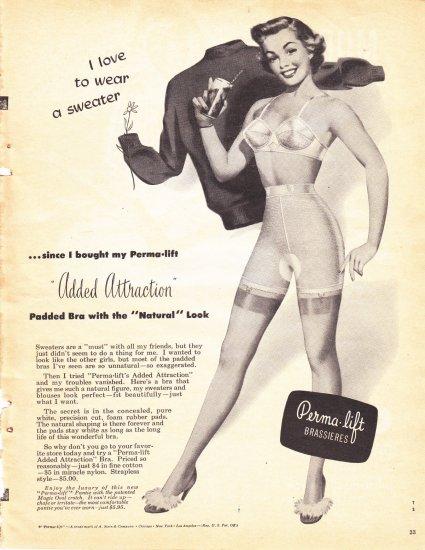 Perma Lift Brassiers padded bra full page advertisement