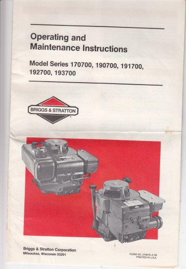 Operating Maintainance Instructions Briggs & Stratton series 170700 190700 191700 192700 193700