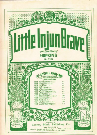 Little Injun Brave Indian Dance H.P Hopkins Music Sheet