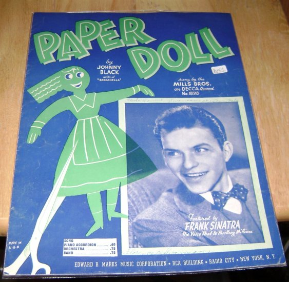 Paper Doll music sheet Johnny Black - very young Frank Sinatra cover