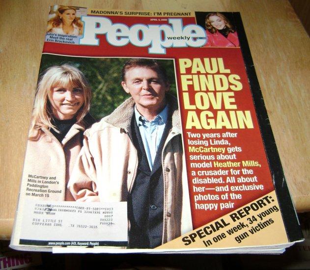 People Weekly April 3 2000 Paul McCarthy & Heather Mills feature & Real Erin Brockovich
