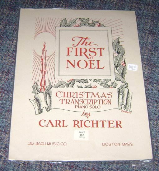 Vintage The first Noel music sheet piano solo Back music Co