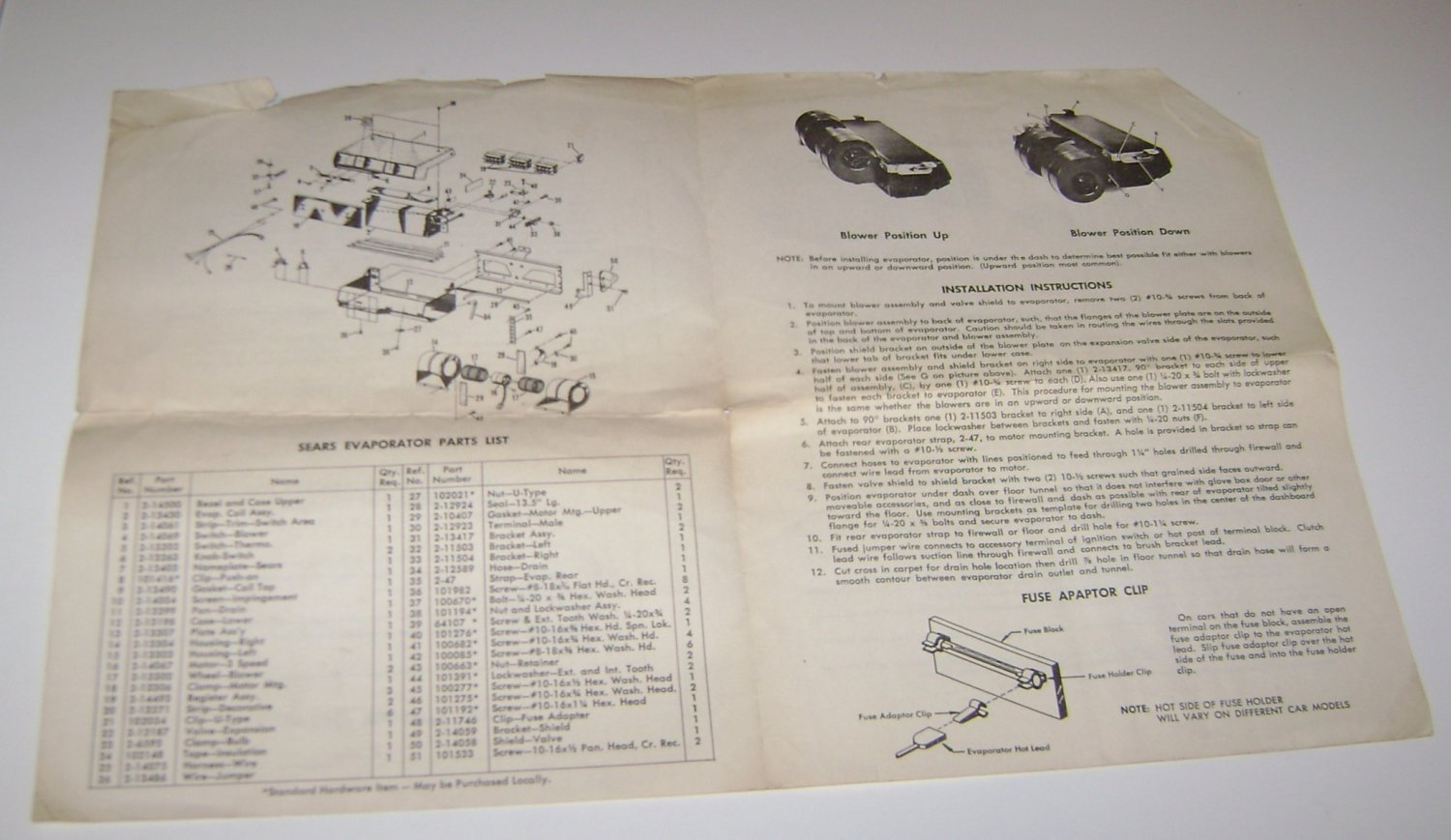 Evaporator assembly for Sears auto air conditioner model 891.57811 manual
