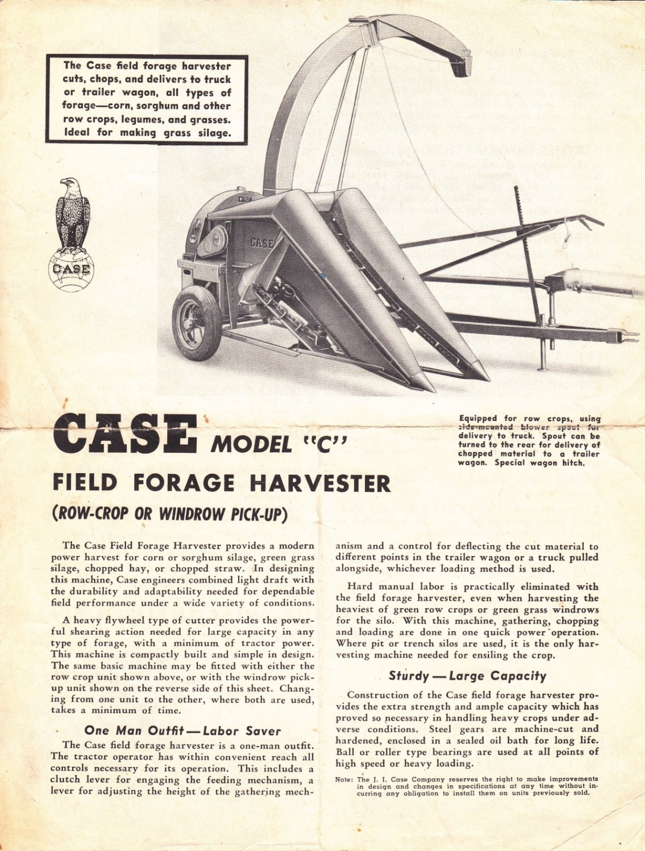 Case model C field forest harvester ad w/basic specs