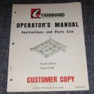 Farmhand Instruction and parts list Model H118-A bale fork