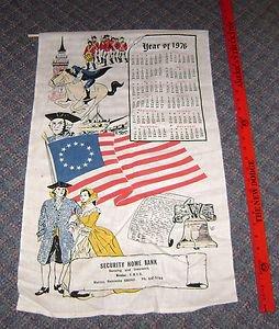 Security Home Bank Malmo Nebraska Cloth Tapestry Calendar 1976