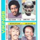 Topps 1978 Minnesota Vikings Chuck Foreman Sammie White Bobby Bryant