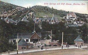 Vintage Postcard Soda Springs & Cliff House Manitou Colorado