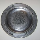 Vintage PEWTER Clipper Tall Ship Centennial 2 Woodweld Tray